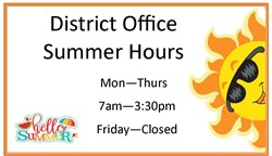 District Office Hours with a sun and a happy summer sign