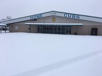Snow all around Anderson High School