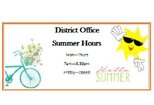 District Office Summer Hours Logo