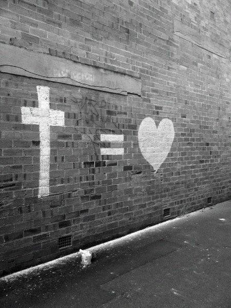 Jill McWilliams Picture, Wall with Cross and Heart