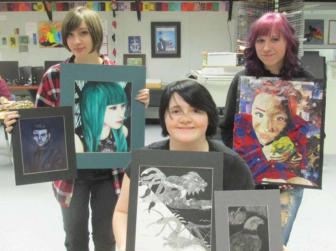 Art Students with artwork