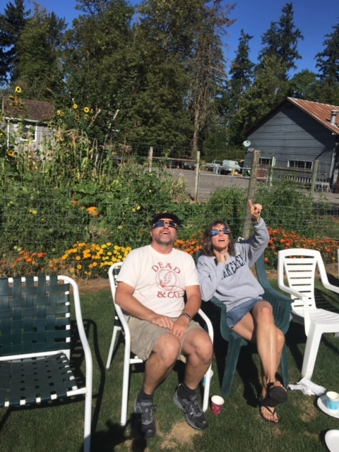 Dan and Jamie Button getting a glimpse of the total eclipse in Oregon