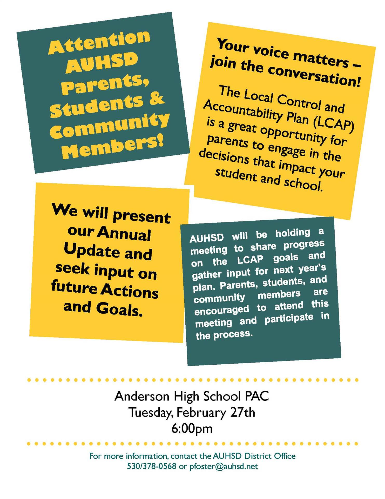 LCAP Meeting: February 27, 6 pm, AUHS PAC
