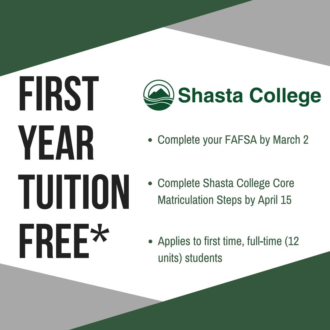 First Year Tuition Free at Shasta College