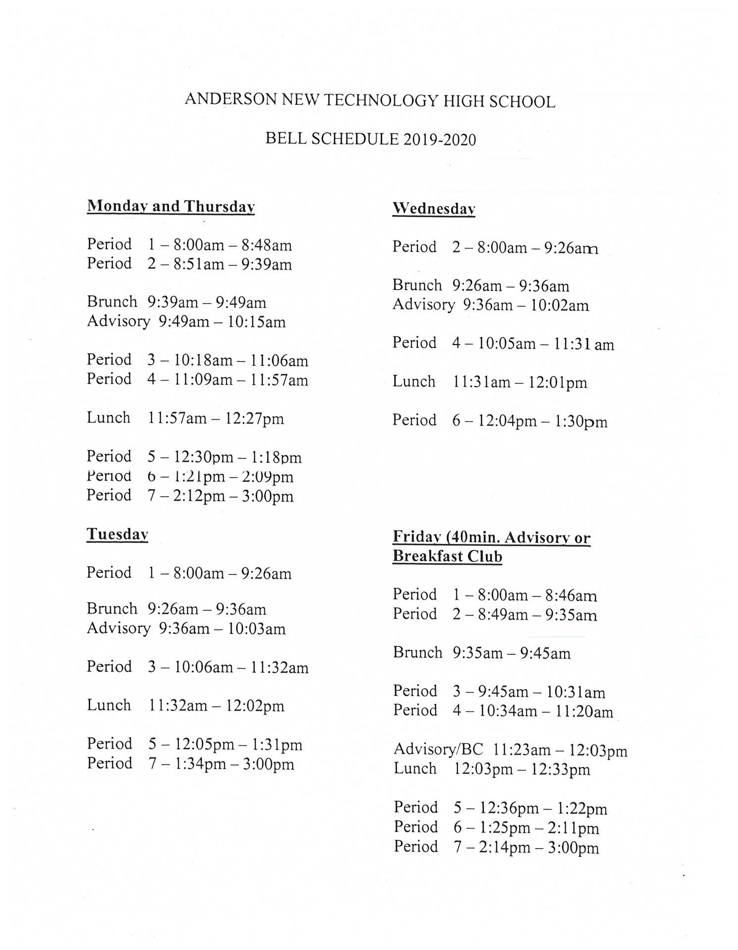 Bell Schedule 19-20