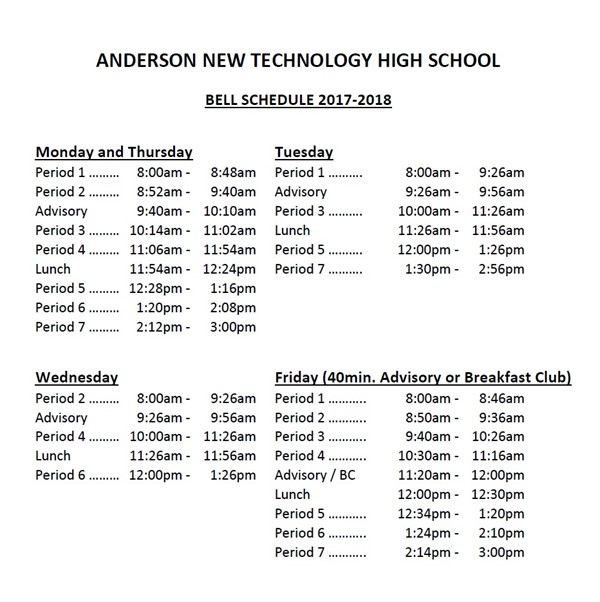 Bell Schedule Graphic for 2017-18