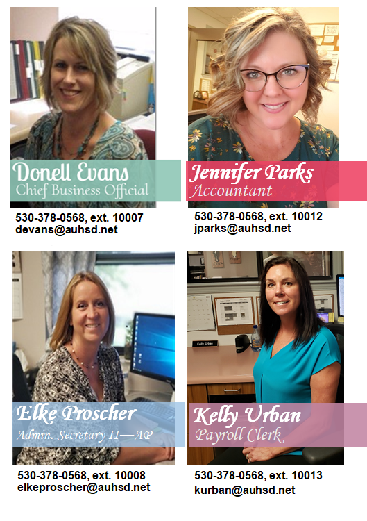 Photos of the Business Office Staff at Anderson Union High School District